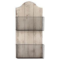 Could make with hooks instead of baskets - Stow outdoor accessories or magazines in your entryway or office with this weathered wall basket, showcasing 2 wire compartments and an arched top. Produc...