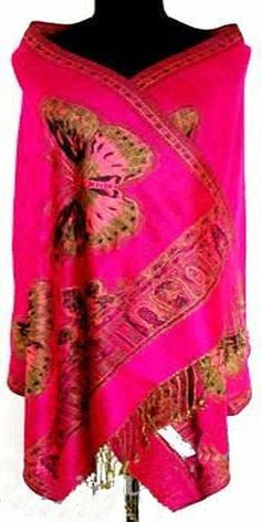 New Hot Fashion Women Lady Double Side Butterfly Silk Animal Pashmina Scarf Wrap Shawl