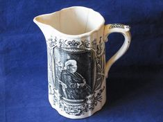 Queen Victoria 60 Years Reign Jubilee Balmoral Castle Large Jug Pitcher dated 1887 British Royalty Scottish Water Jug Queen Victoria English Royalty, Queen Victoria, Antique Items, Reign, Castle, British, Take That, Pottery, Black And White