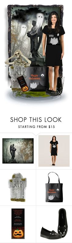 Halloween Ghost Print Dress by sgolis on Polyvore featuring Hot Topic, men's fashion, menswear, blackdress, halloweencostume and zazzke