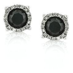 Mark Broumand 1.06ct Fancy Black Round Brilliant Cut Diamond Stud... (5 040 SEK) ❤ liked on Polyvore