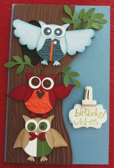 And I punched a small hole in the tree to insert the branch into. Also used, bird builder punch, scallop punch and designer label punch Homemade Birthday Cards, Homemade Cards, Owl Punch Cards, Owl Card, Congratulations Card, Halloween Cards, Kids Cards, Scrapbook Cards, Stampin Up Cards
