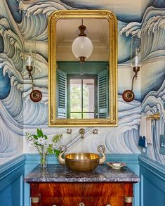 """GRACIE on Instagram: """"Sea how beautifully @alainamichelleralph designed this powder room? 📸 @julialynnphotography #graciestudio #graciewallpaper #GracieWaves…"""" Tiny Bathrooms, Beautiful Bathrooms, Bathroom Interior Design, Interior Decorating, Bathroom Designs, Bathroom Ideas, Tiny Powder Rooms, Add A Room, Floating Cabinets"""