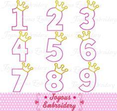 Sofortiger Download Crown Zahlen 1-9 Applique von JoyousEmbroidery