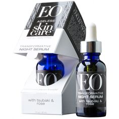 NEW! EO Products Ageless Skin Care Day & Night Serum Set EO® Organic Argan Face Oil is a certified organic blend of oils and botanicals that deeply penetrate skin to restore softness where skin needs it most. 1 fl oz, packaged in a glass bottle with dropper included. EO® Transformative Night Serum is packed with natural and organic anti-aging botanical ingredients to reduce the visible signs of aging while you sleep. 1 fl oz, packaged in a glass bottle with dropper included.