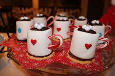 Food Art - hot cocoa mugs with jumbo marshmallows.