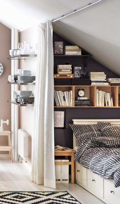 Chambre agencement astucieux, gain de place dans petits espaces - Appartement 1D