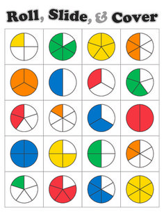 Roll Slide Cover Fraction Game awesome game to reinforce fractions! Can be used with the fraction dice from Great Extensions! I used this to teach adding and subtracting fractions with like denominators.
