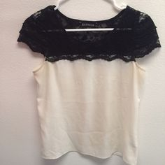 Express top Black lace and cream, perfect classy combination. Worn once, in excellent shape. Didn't like how transparent it was (as shown in picture) so never wore it again. Express Tops Blouses