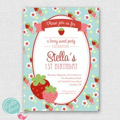 berry sweet strawberry printable birthday invitation in Blue, hello love designs