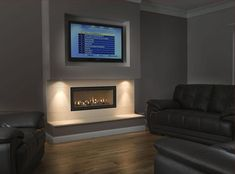 Gazco Studio 2 Gas fire with logs and A. install in false chimney breast - Thornwood Fireplaces New Homes, Fireplace Design, Home, Living Room Tv, Interior, Family Room, Living Room With Fireplace, Living Room Tv Wall, Living Room Designs