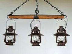 3 Lantern Single Tree Chandelier by BigRockLanterns on Etsy Farmhouse Lighting, Rustic Lighting, Home Lighting, Kitchen Lighting, Lighting Ideas, Diy Luminaire, Diy Lampe, Western Decor, Country Decor
