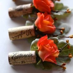 Wine Cork Boutonniere Coral Wedding by thebreadandbutterfly on Etsy - love this for a vineyard wedding Boutonnieres, Orange Boutonniere, Rustic Wedding Boutonniere, Shotgun Shell Boutonniere, Diy Cork, Cork Crafts, Easy Crafts, Perfect Wedding, Wine Cork Crafts