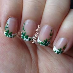 Simple French with St. Patty #clovers. #clovernails #stpattynails #stpatricknails #stpatricksnails #frenchtips #stpatricksdaynails