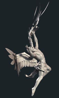 Esteban Pacheco – The Fallen Angel - Sculpture Fallen Angel Art, Fallen Angel Tattoo, Statue Tattoo, Angel Aesthetic, Aesthetic Art, Icarus Tattoo, Statue Ange, Angel Tattoo Designs, Angel Statues