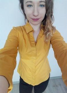Kup mój przedmiot na #vintedpl http://www.vinted.pl/damska-odziez/koszule/16827150-musztardowo-zlota-elegancka-koszula-wizytowa
