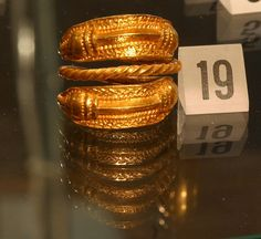 Gold ring from the viking age, found in Naustdal, Western Norway. Exhibited in…