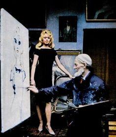 Brigitte Bardot posing for Kees Van Dongen, Sept. 1959, in his Parisian studio, rue de Courcelles.