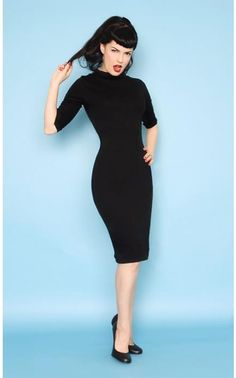 """Retro Dress - The  """"Super Spy"""" Dress in Black Stretch Jersey by Heartbreaker Fashion - cute and sexy and infinitely wearable."""