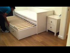 Starts at 0:42. IKEA Hemnes Daybed. This is exactly what we need in our guest room!