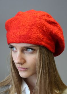 Felted hat  beret Red Riding Hood by doseth on Etsy, €40.00