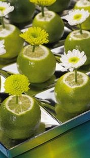 Or Lemons! Simple lime centerpieces, great for cocktail tables or an arrangement at a reception table. but more autumn flowers Spring Wedding Centerpieces, Table Centerpieces, Wedding Decorations, Lime Centerpiece, Decor Wedding, Centerpiece Ideas, Deco Champetre, Deco Floral, Table Arrangements