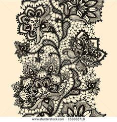 """""""laço de fita abstrato padrão sem costura com elementos florais. Modelo de molde para o cartão. Lace Doily. Pode ser usado para embalagens, convites, e modelos . Ornamento de laço vetor."""""""