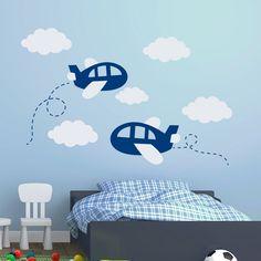 Plane Wall Decal Cloud Decals Airplane Sticker Vinyl Nursery Boy Room Bedroom Decor Interior Home Art Ideas Window Door Decal Boys Bedroom Furniture, Diy Kids Furniture, Boys Bedroom Decor, Bedroom Ideas, Furniture Stores, Cheap Furniture, Lego Bedroom, Inexpensive Furniture, Furniture Websites