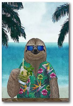 Sloth on Summer Holidays Wrapped Canvas