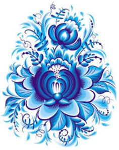 Blue flower in gzhel style Gzhel is a style of ceramics which takes its name from the village of Gzhel and surrounding area, where it has been produced since Folk Embroidery, Learn Embroidery, Embroidery Patterns, Russian Folk Art, Scandinavian Folk Art, Willow Pattern, Tole Painting, Delft, Pattern Art