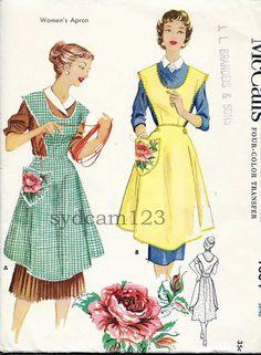Vintage 1953 Scoop Neck and Back Full Bib Apron Rose Motif McCalls 1804 Bust 38 to 40. $18.00, via Etsy.