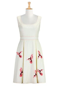 Hummingbird embroidered poplin dress from eShakti. Why does it have to cost so much? We could all match again!!  @Amanda Vereen @Annie Avary