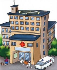 hospital para dibujar - Buscar con Google Medical Clip Art, Medical Icon, Cartoon Images, Cartoon Drawings, Community Helpers Kindergarten, Colegio Ideas, Cartoon Building, Building On Fire, Community Workers