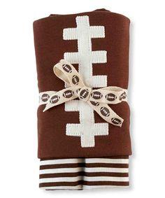 Love this Brown & White Football Receiving Blanket on #zulily! #zulilyfinds