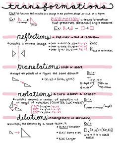 Transformations Reference Sheet