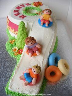 snow sledding cake - could put boys names on the tube