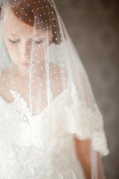 Bridal Veil Polka dot veil lace Circular lace veil  by sibodesigns, $345.00