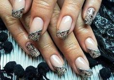 Nude with black lace details with silver and diamante