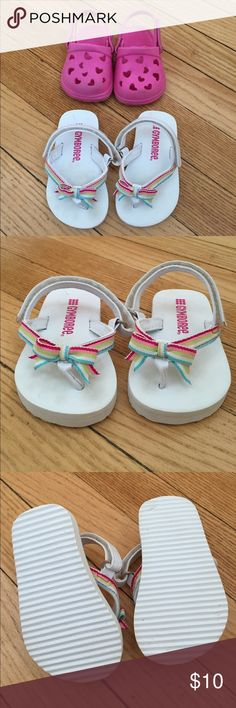 Baby Girls sandals size 3 Gymboree adjustable sandals and pink fake crocs, both size 3 but can adjust to size 4 with Velcro straps!! Gymboree Shoes Sandals & Flip Flops