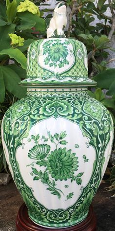 Rare Delft Green Ginger Jar Large Delfts by GuamAntiquesNstuff