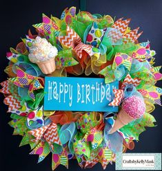 Turquoise, orange, yellow, and green with Birthday ribbons Birthday Party Decorations Diy, Birthday Wreaths, Diy Birthday, Happy Birthday, Birthday Signs, Birthday Ideas, Wreaths For Sale, Holiday Wreaths, Diy Wreath