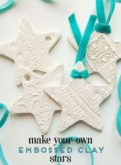 Learn how to make your own Embossed Clay Star decorations.