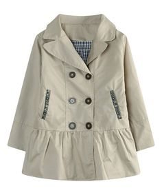 Look at this Cream Double-Breasted Ruffle Coat - Kids on #zulily today!