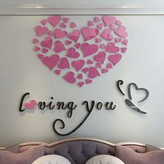 Alicemall Romantic Heart and Butterfly Loving You Acrylic 3D Wall Sticker Beautiful Wall Decals