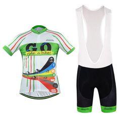Men's White GO Short Sleeve Cycling Jersey Set #Cycling #CyclingGear #CyclingJersey #CyclingJerseySet