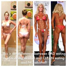 The pics on the left is what she looked like when she ate junk foods and drank alcohol. 5 months of eating clean and not drinking alcohol she competed and won 1st place in a Bikini Competition. Diet is everything!