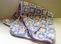 Crochet crib Afghan 24 x 27 pink & blue Donated by: Alberta Everett Silent Auction, Pot Holders, Pink Blue, Cribs, Crochet, I Win, Cots, Bassinet, Potholders
