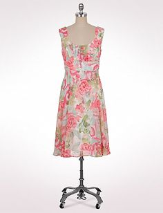 Petite Ruched Watercolor Rose Dress