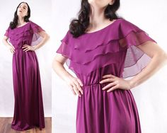 70s Purple maxi dress beautiful shear layers open by BGSvintage