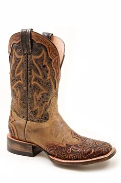 """Stetson Womens Riding 11"""""""" Han Orange d Tooled 2 Tone Wingtip Leather Western Cowboy Boot"""